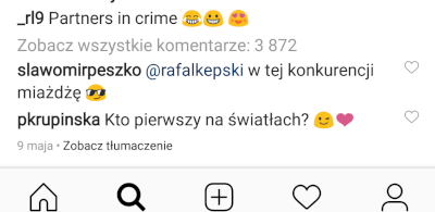 Komentarze na Instagramie