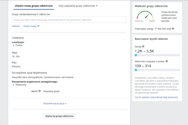 Grupy odbiorców na FB