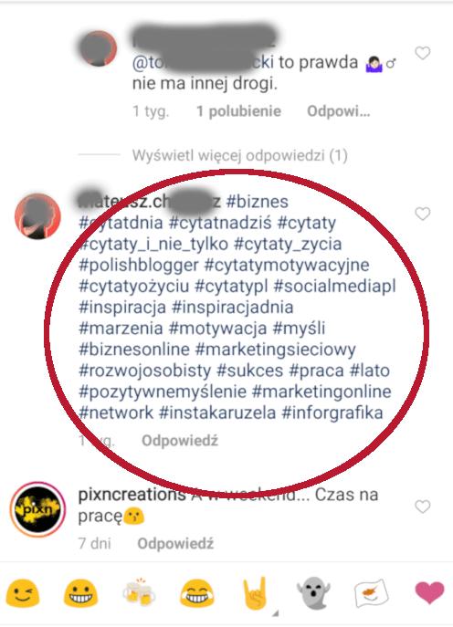 Hashtagi w komentarzu