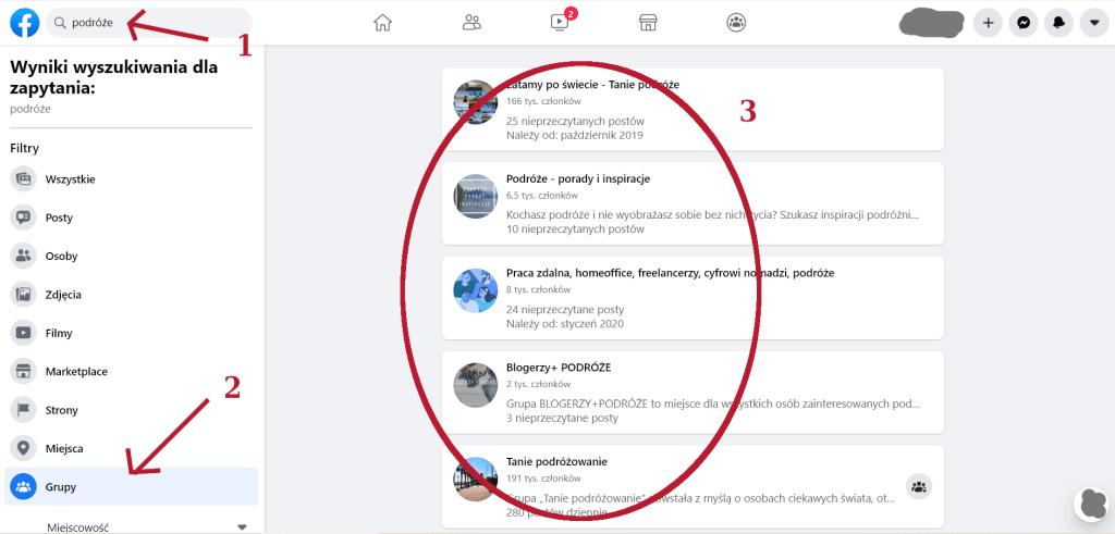 Znajdowanie grup na Facebooku