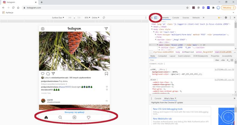 Instagram z komputera - tryb programisty w Chrome